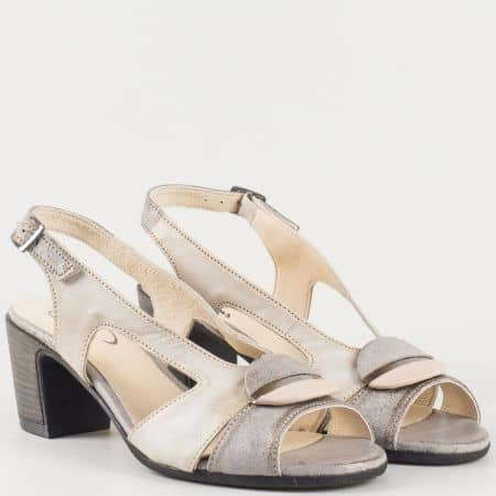 Български дамски сандали на среден ток в сиво и бежово 67131sv