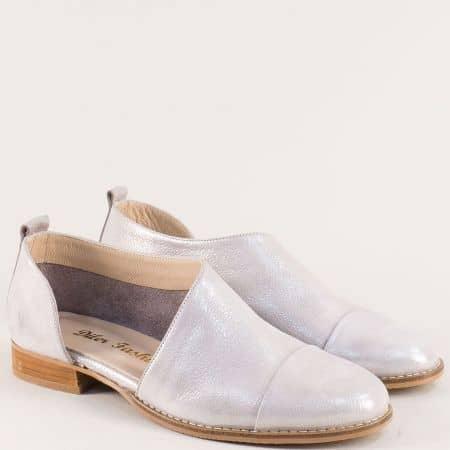 Бежови дамски обувки на нисък ток с кожена стелка 673599sbj