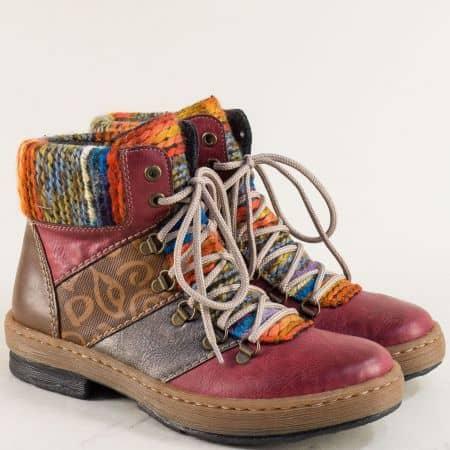Дамски боти в модна комбинация от цветове RIEKER 6744bd