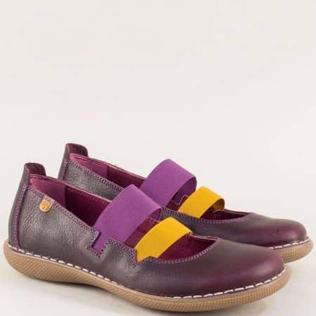 Лилави дамски обувки от естествена кожа с два ластика 6771l