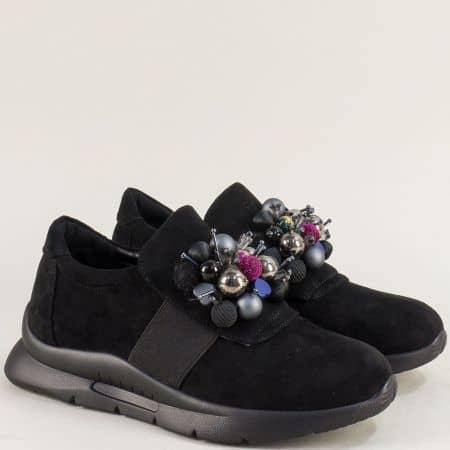 Спортни дамски обувки с декорация в черен цвят 6781008vch