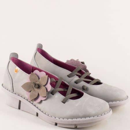 Сиви дамски обувки с ластични връзки и кожена стелка 6802nsv