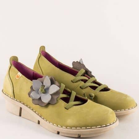 Шити дамски обувки от естествена набук в зелен цвят 6802nz