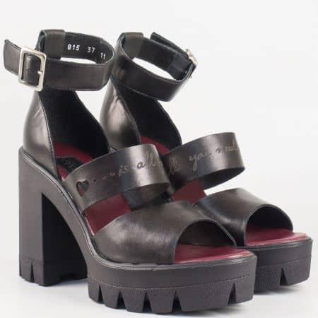 Модерни дамски сандали на висок ток и платформа в черен цвят 6815ch