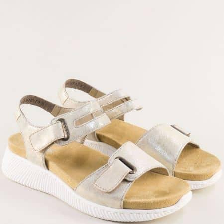 Златисти дамски сандали от естествена кожа с две лепки- RIEKER 68474zl