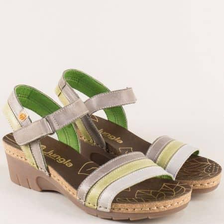 Дамски сандали в зелено, бежовои сиво на клин ходило 6883ps
