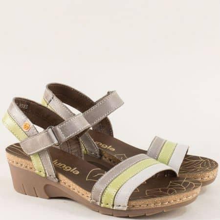 Дамски сандали в сиво, зелено и бежово с лепка- Jungla 6883ps1