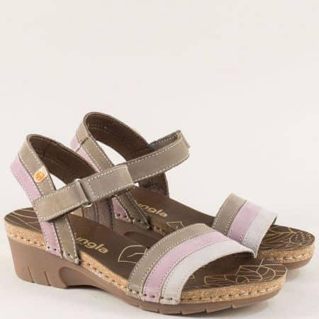 Дамски сандали в бежово, розово и сиво на клин ходило 6883ps2
