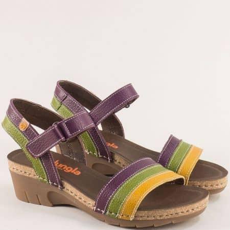 Дамски сандали в кафяво, зелено, жълто и лилаво- JUNGLA 6883ps3
