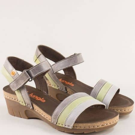Дамски сандали в сиво, зелено и кафяво- JUNGLA 6883ps4