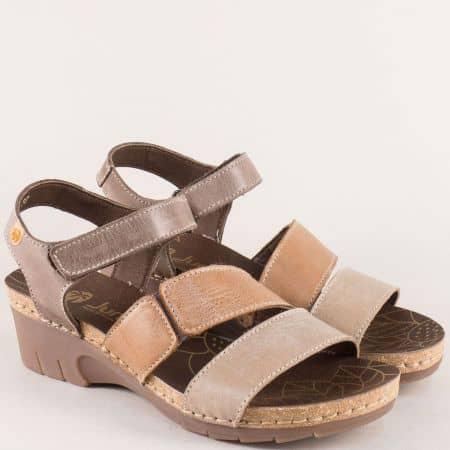 Дамски сандали на клин ходило в бежово и кафяво- Jungla 6885bj