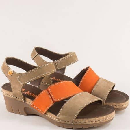 Дамски сандали на среден ток в оранж и бежово- JUNGLA 6885bjo