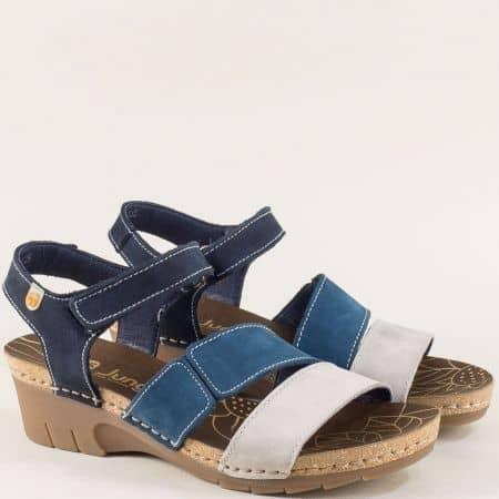 Дамски сандали в сиво и синьо на каучуково клин ходило 6885ns1
