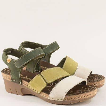 Испански дамски сандали от кожа в зелено и сиво 6885nz