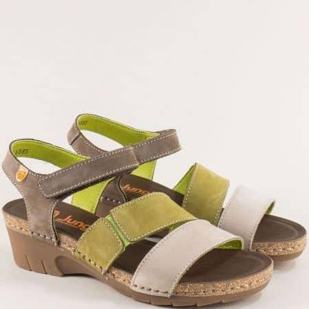 Дамски сандали в сиво и зелено от естествен набук и каучук 6885nz1