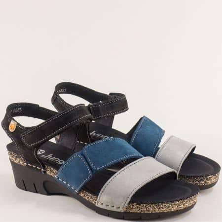 Дамски сандали от естествен набук в сиво, синьо и черно 6885sps