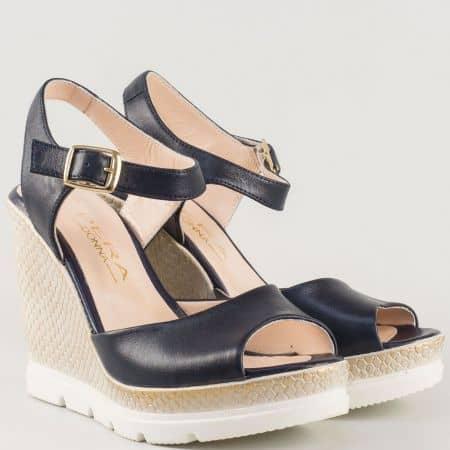 Дамски стилни сандали в тъмно син цвят на платформа със змийски принт от естествена кожа изцяло 694112s