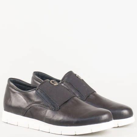 Дамски спортни обувки с ластик в черен цвят от естествена кожа изяло- български производител 69541603ch