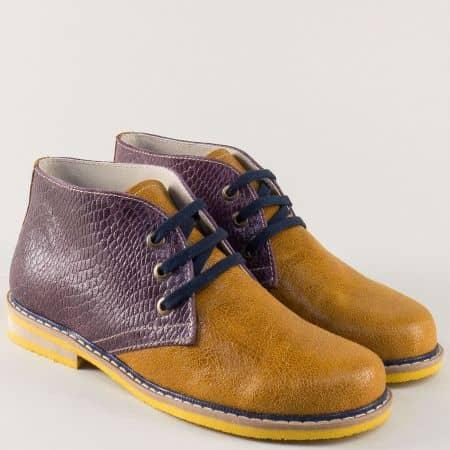 Дамски обувки от естествена кожа в кафяво и лилаво 69682ps