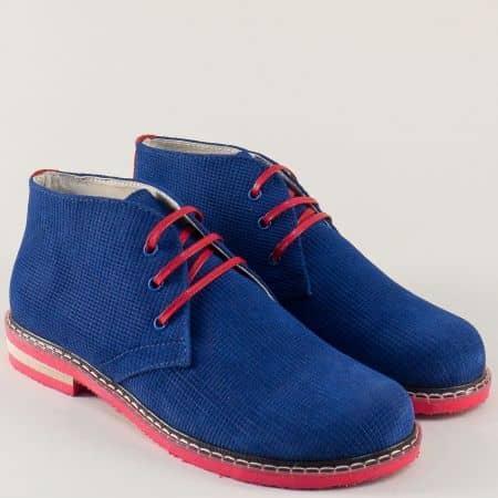 Велурени дамски боти на нисък ток в синьо и червено 69682vs