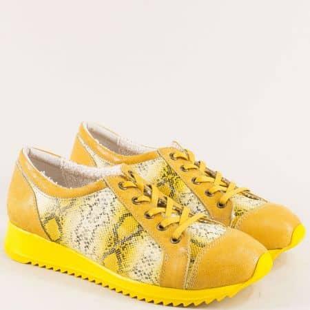 Български дамски обувки от естествена кожа в жълт цвят m697zj