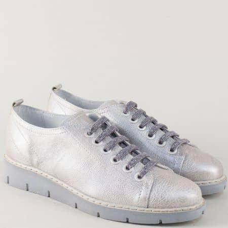 Кожени дамски обувки в сив цвят на равно ходило 69886sv