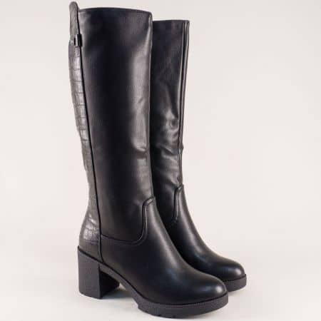 Черни дамски ботуши с частичен кроко принт- ELIZA 7001841zch