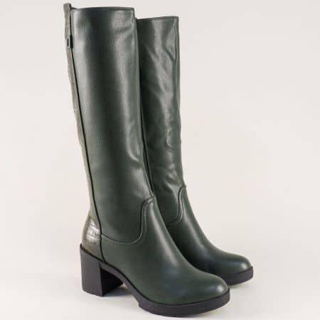 Зелени дамски ботуши на висок ток с кроко принт- ELIZA 7001841zz