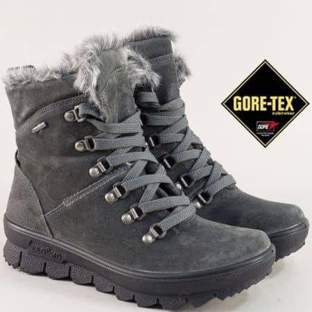 Велурени дамски боти в сив цвят с Gore- Tex мембрана 700503vsv