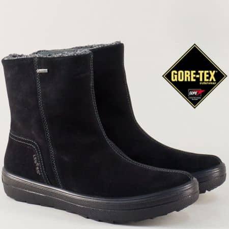 Черни дамски боти от естествен велур с Gore-Tex мембрана 700635vch