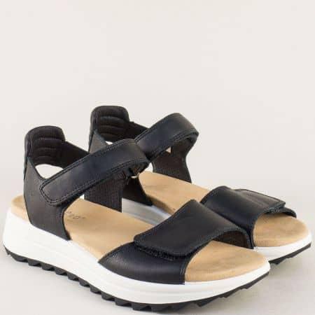 Черни дамски сандали на платформа с кожена стелка 200713ch