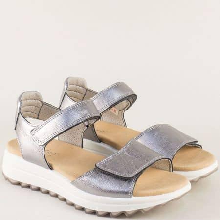 Сребърни дамски сандали с две лепки от естествена кожа  200713sr