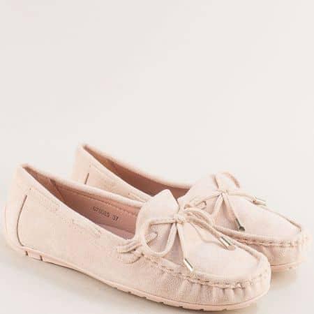 Комфортни дамски обувки от изкуствен велур в бежов цвят 70085vbj