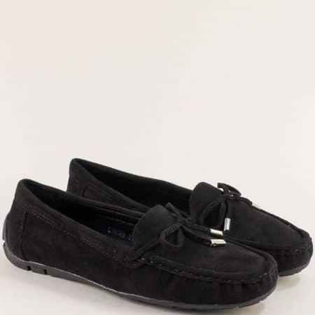 Комфортни дамски обувки от изкуствен велур в черен цвят 70085vch
