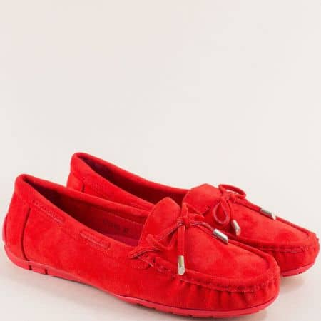Комфортни дамски обувки от изкуствен велур в червен цвят 70085vchv