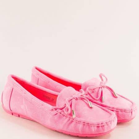 Комфортни дамски обувки от изкуствен велур в цикламен цвят 70085vck