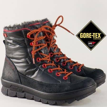 Черни дамски боти с Gore- Tex мембрана на комфортно ходило с връзки 700933ch