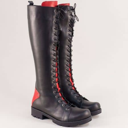 Кожени дамски ботуши, тип кубинка в червено и черно 7011574chchv