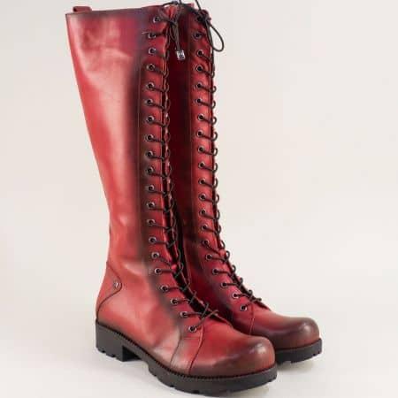 Червени дамски ботуши от естствена кожа на нисък ток 7011574chv