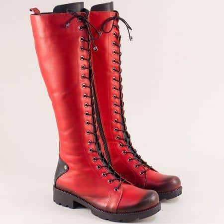 Кожени дамски ботуши, тип кубинка в червено и черно 7011574chvch