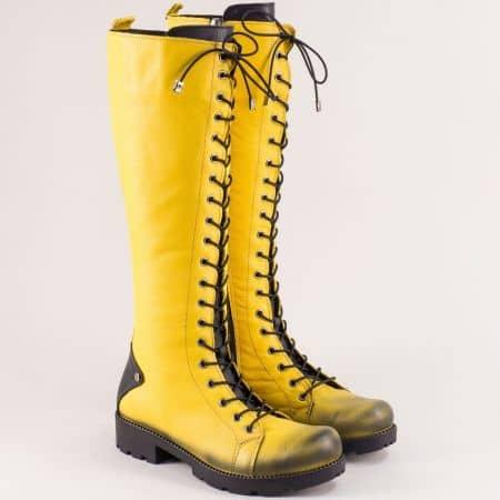 Кожени дамски ботуши, тип кубинка в жълто и черно 7011574jch