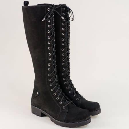 Черни дамски ботуши от естествен набук на нисък ток 7011574nch