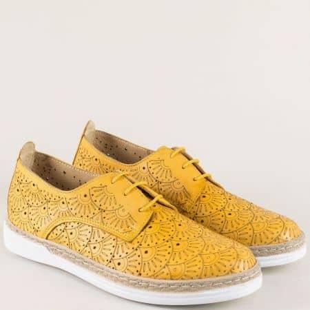 Жълти дамски обувки с кожена ортопедична стелка 70241134j