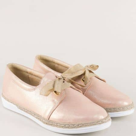 Шити дамски обувки от естествена кожа в розов цвят 70241139rz