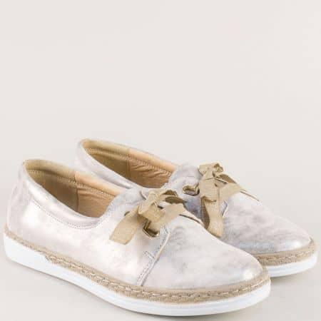 Сиви дамски обувки с връзки на шито ходило- Nota Bene  70241139sv