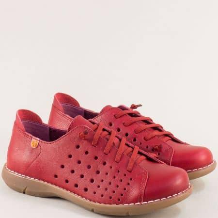 Червени дамски обувки от естествена кожа и каучук 7034chv