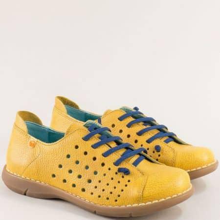 Жълти дамски обувки от естествена кожа и каучук 7034j