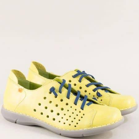 Жълто- зелени дамски обувки с перфорация и  сини връзки 7034z