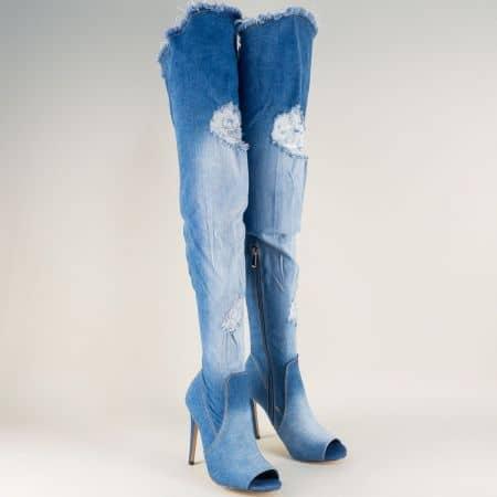 Дънков дамски ботуш в синьо на висок ток  7039ds