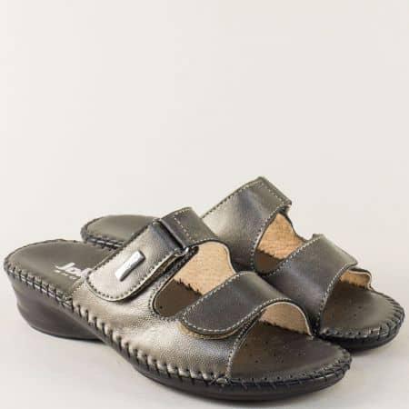 Бронзови дамски чехли от естествена кожа на нисък ток 70958brz